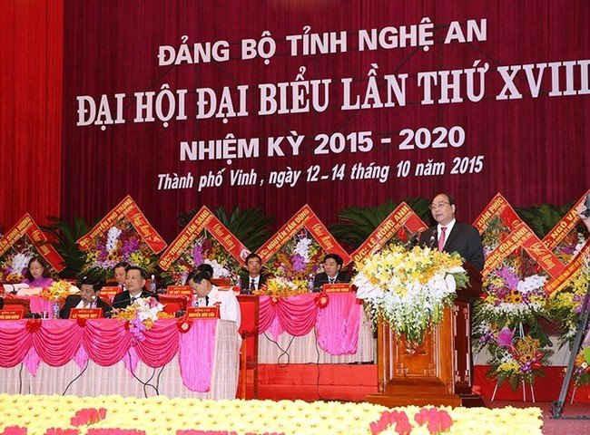 Ủy viên Bộ Chính trị, Phó Thủ tướng Chính phủ Nguyễn Xuân Phúc phát biểu chỉ đạo Đại hội