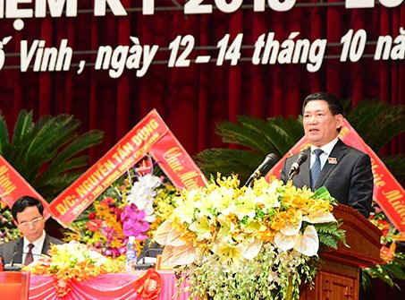 Ông Hồ Đức Phớc - Bí thư Tỉnh ủy Nghệ An phát biểu tại Đại hội