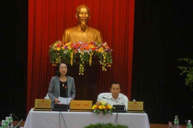 Đồng chí Trương Thị Mai- Ủy viên Bộ Chính trị, Bí thư Trung ương Đảng, Trưởng Ban Dân vận Trung ương phát biểu tại buổi làm việc tại TP. Đà Nẵng