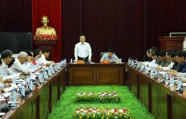 Toàn cảnh buổi làm việc của phó chủ tịch Quốc hội Phùng Quốc Hiển với lãnh đạo chủ chốt tỉnh Lai Châu