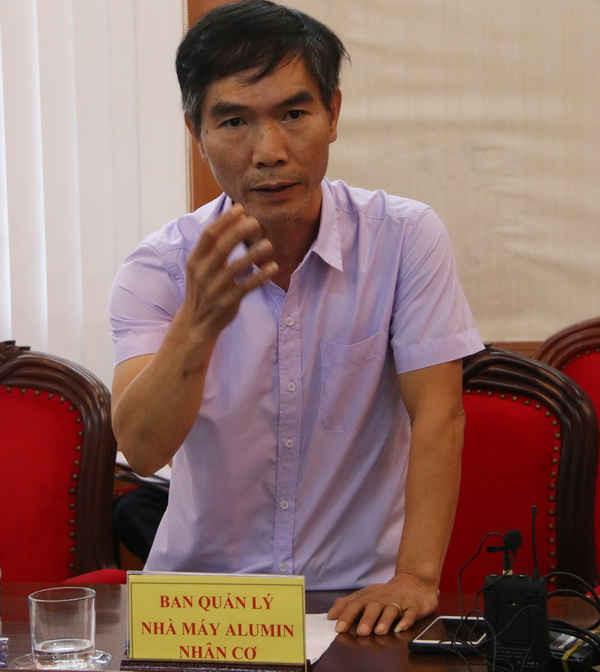 Ông Ngô Tố Ninh - Phó Giám đốc Dự án Nhà máy Alumin Nhân Cơ - Vinacomin (VNAP - PMU) tại buổi họp báo