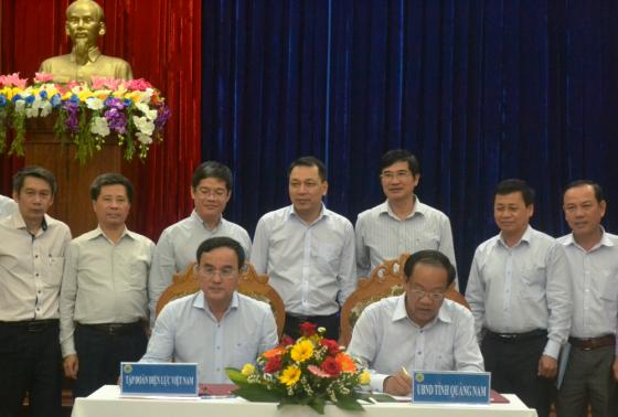 Lãnh đạo tỉnh Quảng Nam và Tập đoàn EVN ký cam kết về triển khai Dự án Đường dây 500kV tại tỉnh Quảng Nam
