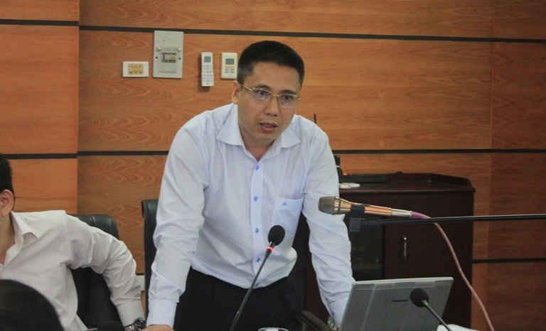 Ông Hoàng Ngọc Lâm – Phó Cục trưởng Cục Đo đạc và Bản đồ Việt Nam báo cáo kết quả thực hiện Dự án tại Hội nghị sáng 24/3