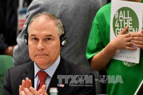 Lãnh đạo Cơ quan Bảo vệ Môi trường Mỹ (EPA) Scott Pruitt tại Hội nghị Bộ trường Môi trường Nhóm các nước công nghiệp phát triển hàng đầu thế giới (G7). Ảnh: AFP/TTXVN
