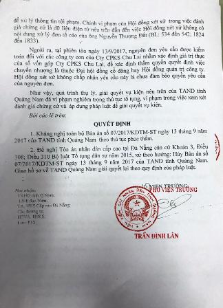 Kháng nghị do Phó Viện trưởng Viện Kiểm sát nhân dân tỉnh Quảng Nam Trần Đình Lân ký