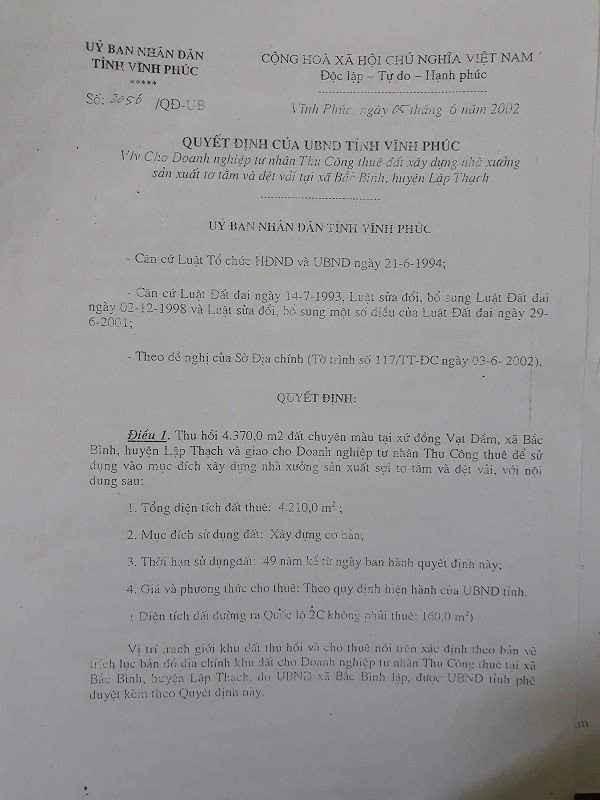 Quyết định thu hồi đất của dân và cho Doanh nghiệp tư nhân Thu Công thuê.