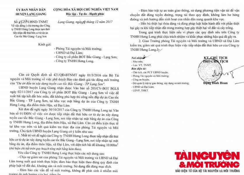 Văn bản UBND huyện Lạng Giang cho phép Công ty TNHH Chiến Đại Thắng tiếp nhận đất chất thải hữu cơ.
