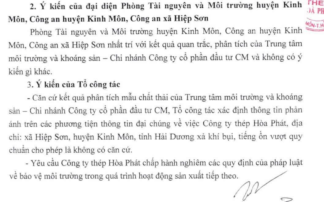 Kết luận của PC49, Công an tỉnh Hải Dương ghi rõ những phản ánh của dư luận về thép Hòa Phát là không có căn cứ.