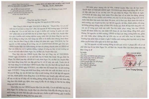 Công văn trả lời của Sở TNMT tỉnh Thanh Hóa