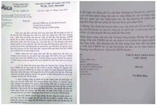 Văn bản chỉ đạo của UBND huyện Can Lộc sau khi Báo điện tử TN&MT phản ánh