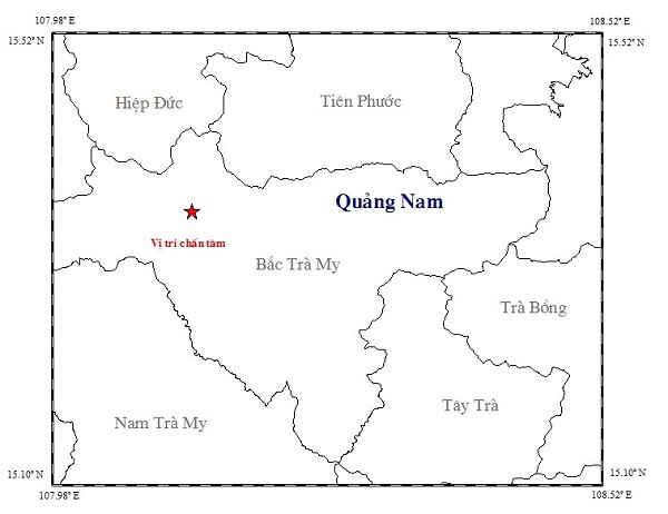 Vị trí nơi xảy ra động đất 3.1 độ Richter ở huyện Bắc Trà My.