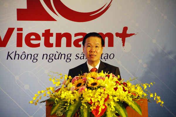 Ông Võ Văn Thường, Ủy viên Bộ Chính trị, Bí thư Trung ương Đảng, Trưởng Ban Tuyên giáo Trung ương phát biểu tại buổi lễ