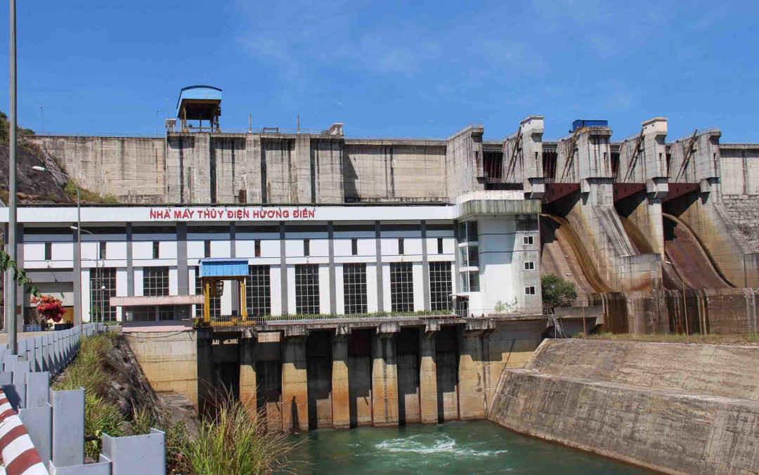 Mực nước thủy điện Hương Điền đang ở mức rất thấp