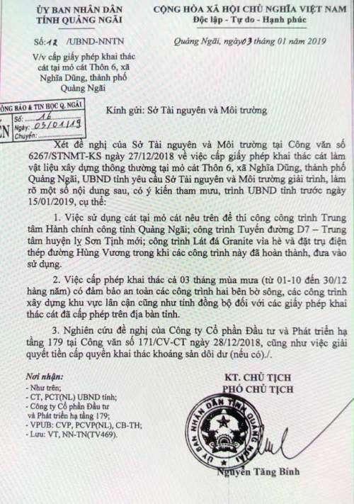 Chính quyền tỉnh Quảng Ngãi đã có văn bản yêu cầu Sở TN&MT giải trình và báo cáo việc tham mưu cấp phép khai thác cát cho một số doanh nghiệp trong thời gian 'cấm' hàng năm