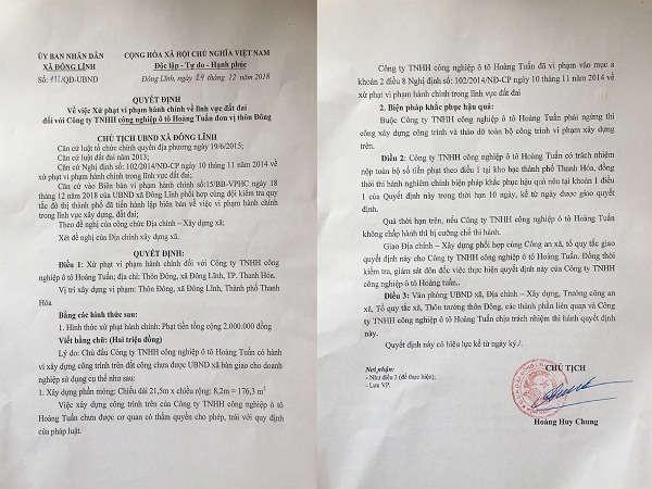 Biên bản xử phạt vi phạm của UBND Đông Lĩnh.