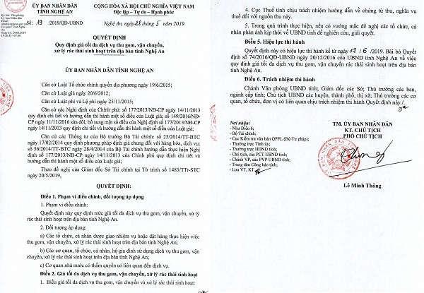 Quyết định số 19/2019/QĐ-UBND, ngày 28/5/2019 quy định giá tối đa dịch vụ thu gom, vận chuyển, xử lý rác thải sinh hoạt trên địa bàn tỉnh Nghệ An