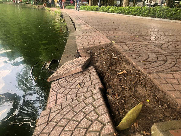 Thậm chí nhiều đoạn kè hồ, gạch lát, giằng bê tông trôi thẳng xuống hồ
