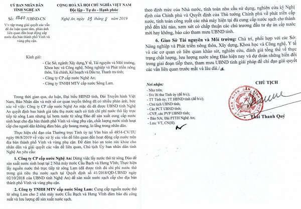 Văn bản UBND tỉnh Nghệ An chỉ đạo giải quyết các vấn đề dư luận quan tâm, phản ánh liên quan đến hoạt động cấp nước địa bàn TP Vinh và vùng phụ cận