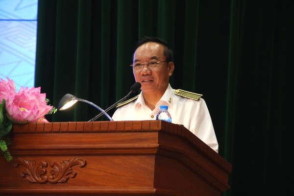 GS,TS. Đoàn Xuân Tiên, Phó Tổng Kiểm toán nhà nước phát biểu khai mạc hội thảo