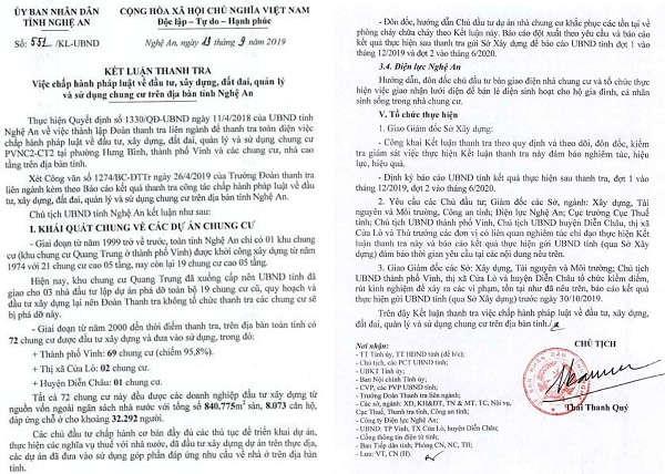 Kết luận thanh tra số 551/KL-UBND, ngày 13/9/2019 của UBND tỉnh Nghệ An chỉ ra hàng loạt sai phạm tại các chung cư trên địa bàn tỉnh