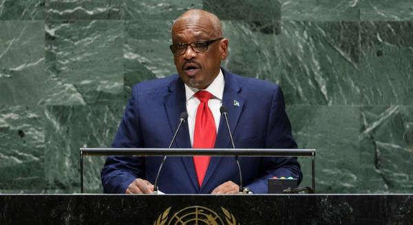 Thủ tướng Bahamas Hubert Alexander Minnis phát biểu tại Phiênthảoluậncấp cao Khóahọp thứ 74 Đại hội đồng Liên Hợp Quốc vào ngày 27/9/2019. Ảnh: LHQ / Loey Felipe