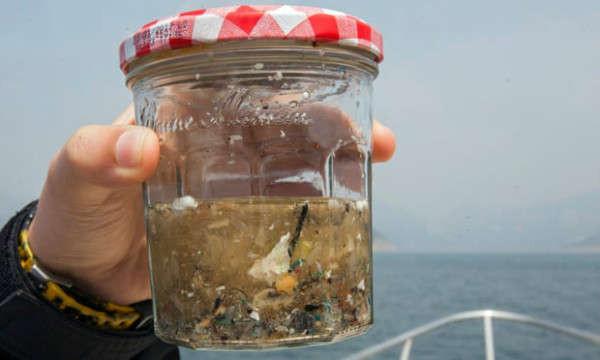 Một chiếc bình chứa một mẫu hạt vi nhựa được thu thập trong một lưới kéo trên mặt biển ở Hồng Kông, Trung Quốc. Ảnh: Alex Hofford / EPA