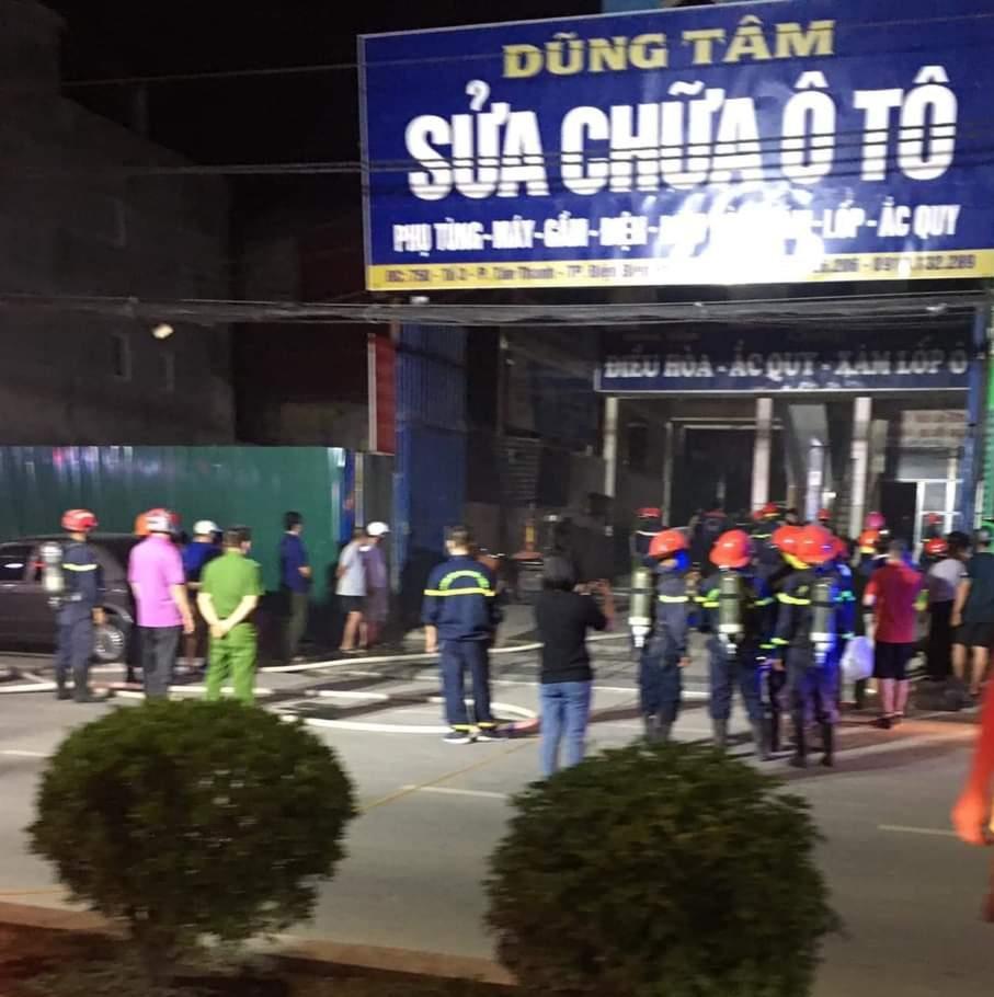 TP. Điện Biên Phủ: Huy động 6 xe cứu hỏa chữa cháy gara ô tô