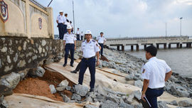 Kiểm tra đánh giá thiệt hại, khắc phục hậu quả sau bão số 9 tại Bộ Tư lệnh Vùng Cảnh sát biển 2