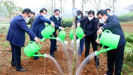 Ủy viên Bộ Chính trị Nguyễn Xuân Thắng hưởng ứng Tết trồng cây tại Di tích lịch sử Quốc gia Định Hóa - Thái Nguyên
