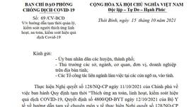 Người vào Thái Bình từ các vùng an toàn không phải xuất trình giấy xét nghiệm