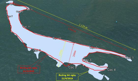 Bất ngờ với sự tăng kích thước của cồn cát mới nổi trên biển Cửa Đại