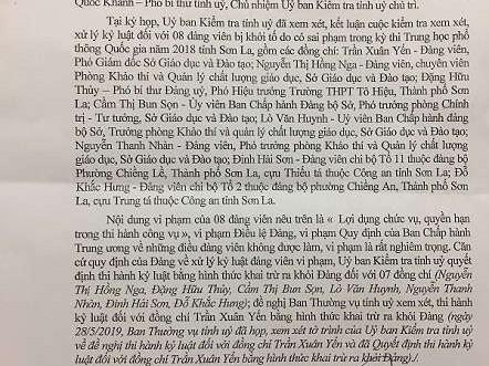 Sai phạm trong Kỳ thi THPT Quốc gia tại Sơn La: Khai trừ Đảng đối với 8 trường hợp