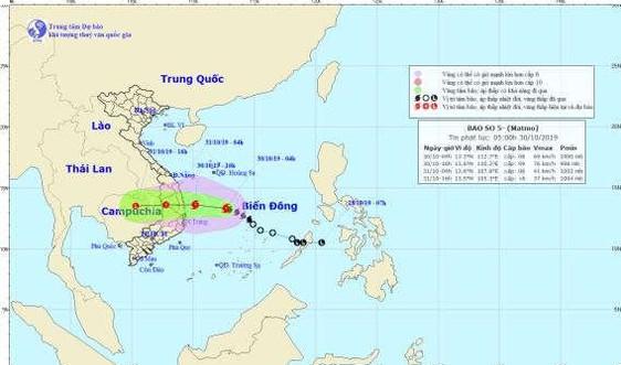 Sáng 30/10: Bão số 5 giật cấp 8, mưa rất lớn ở Trung Bộ và Tây Nguyên