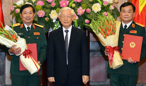 Tổng Bí thư, Chủ tịch nước Nguyễn Phú Trọng trao quyết định thăng quân hàm 2 Thượng tướng