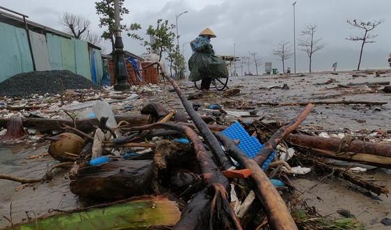 Bãi biển Đà Nẵng tan hoang sau bão số 13