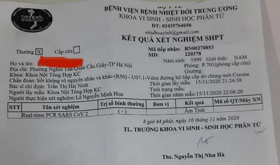 Bệnh nhân nghi tái dương tính ở Hà Nội có kết quả xét nghiệm âm tính với SARS-CoV-2