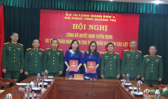 Quảng Trị công bố Quyết định tuyển dụng và trao quân hàm cho thân nhân các liệt sỹ