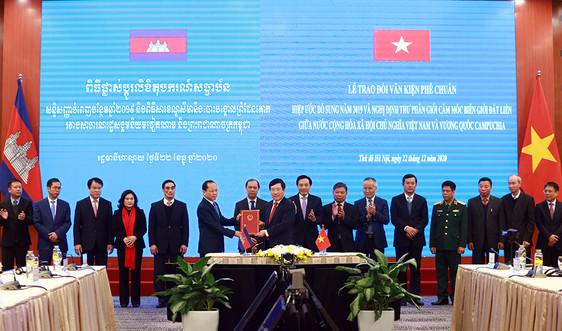 Hai văn kiện pháp lý về cắm mốc biên giới đất liền Việt Nam - Campuchia chính thức có hiệu lực