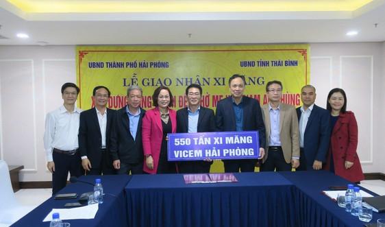 Hải Phòng tặng Thái Bình 550 tấn xi măng xây dựng Đền thờ Mẹ Việt Nam Anh hùng