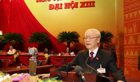 Tổng Bí thư, Chủ tịch nước Nguyễn Phú Trọng trình bày Báo cáo của Ban Chấp hành Trung ương Đảng khóa XII về các Văn kiện trình Đại hội XIII
