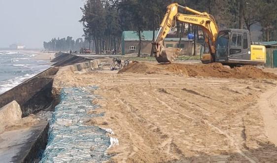 Nghệ An: Khẩn trương khắc phục tạm thời sạt lở kè biển Cửa Lò