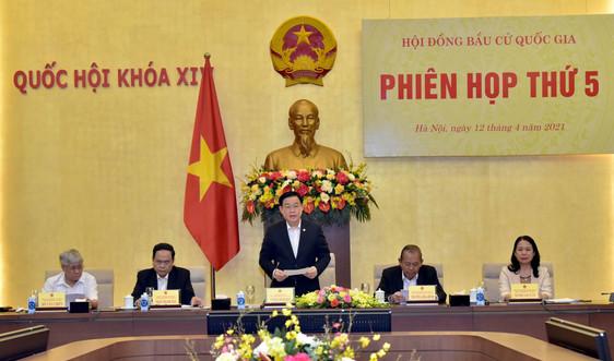 Chủ tịch Quốc hội Vương Đình Huệ chủ trì Phiên họp thứ 5 Hội đồng Bầu cử quốc gia