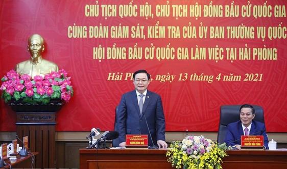 Chủ tịch Quốc hội Vương Đình Huệ kiểm tra công tác chuẩn bị bầu cử tại TP. Hải Phòng