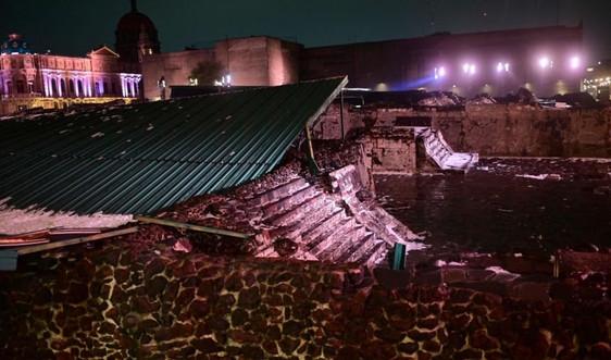 Bão làm sập một phần mái của Di tích Quốc gia Aztec ở Mexico