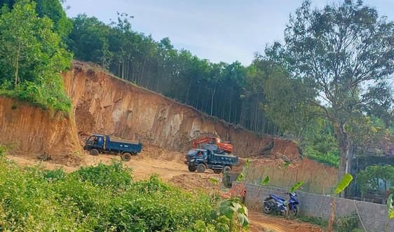 Thạch Thành (Thanh Hóa): Rầm rộ khai thác đất trái phép san lấp dự án trung tâm thương mại