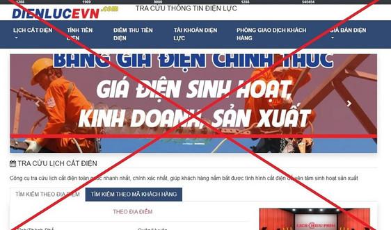 Xuất hiện trang web giả mạo EVN