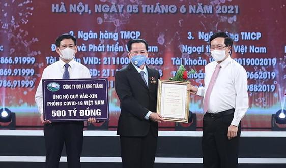 AHLĐ Lê Văn Kiểm, Chủ tịch Golf Long Thành ủng hộ 500 tỷ đồng vào Quỹ vắc-xin phòng, chống Covid-19