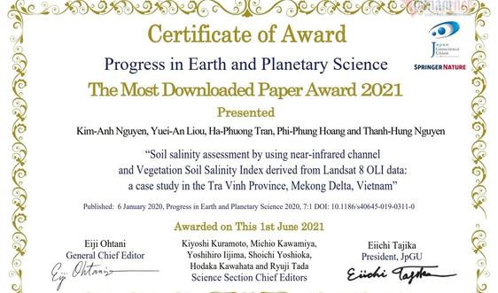 Nữ Tiến sĩ Việt Nam nhận giải thưởng quốc tế về nghiên cứu nhiễm mặn tại ĐBSCL
