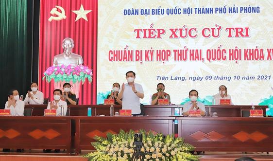 Hải Phòng: Chủ tịch Quốc hội Vương Đình Huệ tiếp xúc cử tri huyện Tiên Lãng