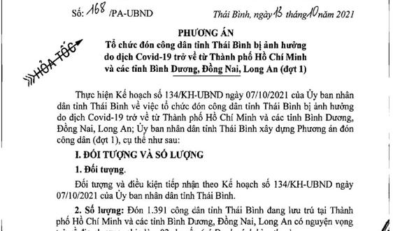 Thái Bình: Hỗ trợ chi phí đón hơn 1.300 công dân từ phía Nam về quê